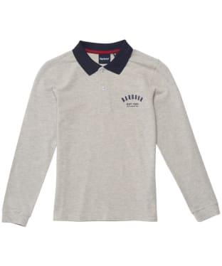 Boy's Barbour Leon L/S Polo Shirt - 6-9yrs - Grey Marl