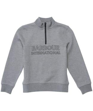 Boy's Barbour International Halt Half Zip Sweat - 10-14yrs - Grey Marl