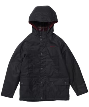 Boy's Barbour Hooded Beaufort Wax Jacket - 6-9yrs - Navy