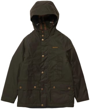 Boy's Barbour Hooded Beaufort Wax Jacket - 6-9yrs - Olive