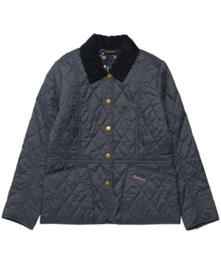 Girl's Barbour Printed Summer Liddesdale Quilted Jacket – 10-15yrs - Navy / Fuchsia Secret