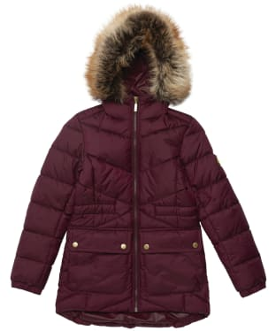 Girl's Barbour International Tampere Quilted Jacket - 6-9yrs - Merlot