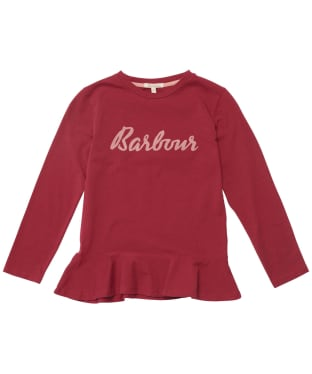 Girl's Barbour Rebecca Frill L/S Tee - 6-9yrs - Beet Red
