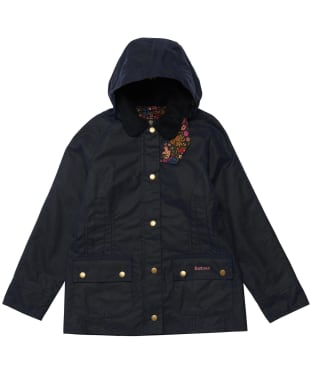 Girl's Barbour Hooded Beadnell Wax Jacket – 10-15yrs - Royal Navy / Fuchsia