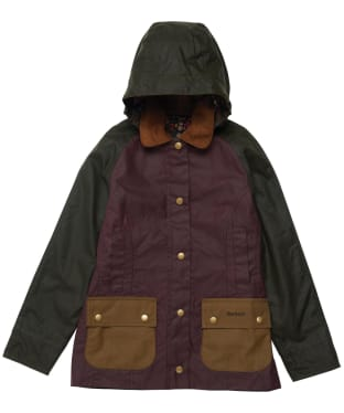 Girl's Barbour Hooded Beadnell Wax Jacket – 6-9yrs - Fern / Bordeaux / Sand
