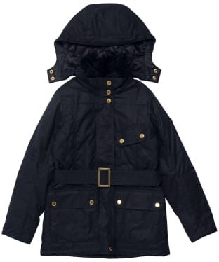 Girl's Barbour International Charade Waxed Jacket - 6-9yrs - Black