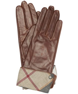 Women's Barbour Lady Jane Leather Gloves - Brown / Hessian