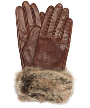 Women's Barbour Fur Trimmed Leather Gloves - Dark Caramel