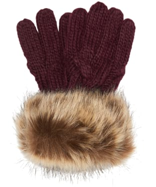 Women's Barbour Penshaw Knitted Gloves - Bordeaux