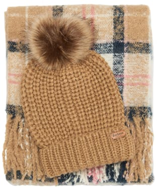 Women's Barbour Saltburn Beanie & Boucle Scarf Gift Set - Pink / Hessian