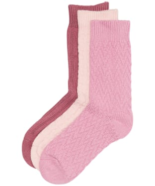 Women's Barbour Textured Socks Gift Set - Pink / White / Red