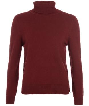 Women's Barbour Pendle Roll Collar Sweater - Burgundy / Hessian