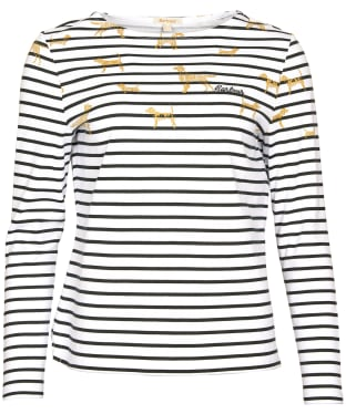 Women's Barbour Hawkins Print Top - Off White Country Print
