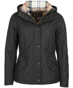 Women's Barbour Millfire Quilted Jacket - Black / Hessian