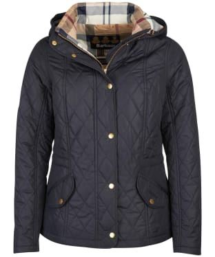 Women's Barbour Millfire Quilted Jacket - Navy / Hessian