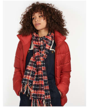 Women's Barbour Ingham Boucle Scarf - Navy / Red