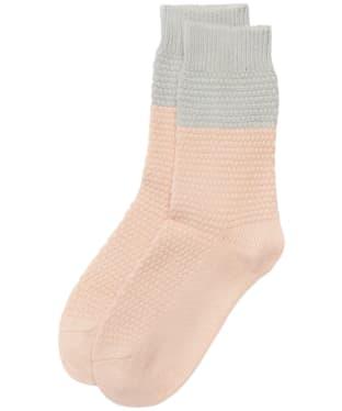 Women's Barbour Colour Block Texture Socks - Pink