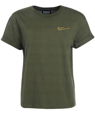 Women's Barbour International Chequer Tee - Soft Moto Green
