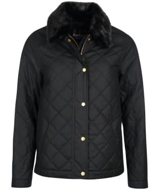 Women's Barbour International Galvez Waxed Jacket - Black