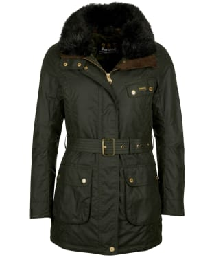 Women's Barbour International Charade Waxed Jacket - Sage