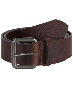 Barbour Matt Leather Belt - DK BROWN PEBBLE