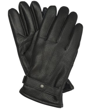 Men's Barbour Burnished Leather Insulated Gloves - Embossed Black