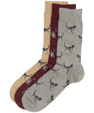 Men's Barbour Pointer Dog Socks Gift Box - Winter Red