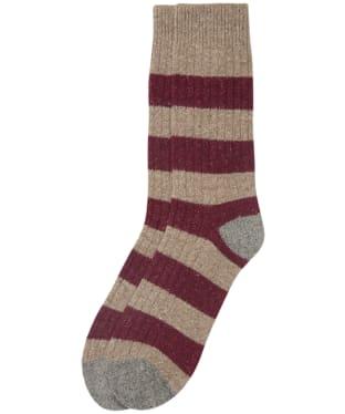 Men's Barbour Houghton Stripe Socks - Winter Red