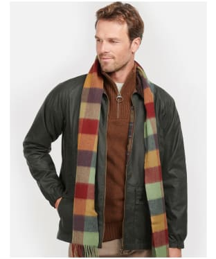 Barbour Large Tattersall Lambswool Scarf - Country Mix