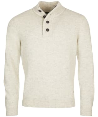 Men's Barbour Patch Half Button Lambswool Sweater - Pearl