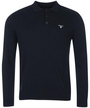 Men's Barbour Essential Cotton Cashmere L/S Polo Shirt - Navy