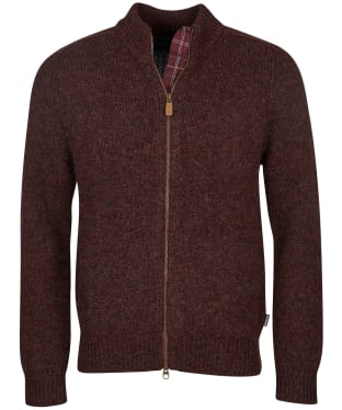 Men's Barbour Calder Knitted Zip Thru - Winter Red