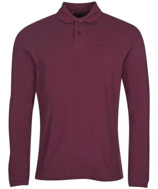 Men's Barbour L/S Sports Polo Shirt - Merlot / Winter Red