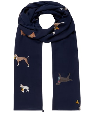 Women's Joules Eco Conway Scarf - Navy Dogs