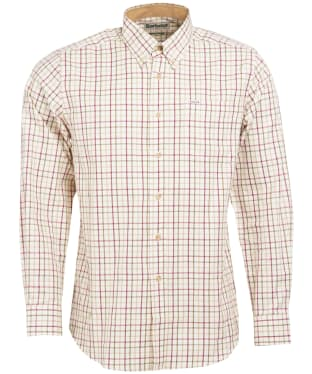Men's Barbour Sporting Tattersall Shirt - Long Sleeve - Red / Khaki