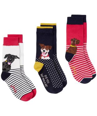 Women's Joules Brilliant Bamboo Socks – 3 Pac - Multi Dogs