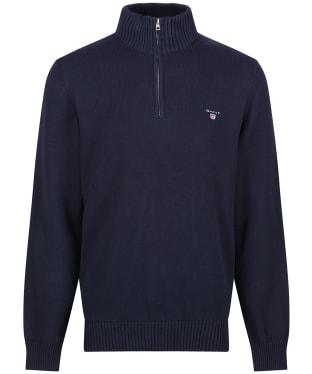 Men's GANT Casual Cotton Halfzip Sweater - Evening Blue