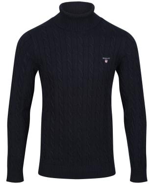 Men's GANT Cotton Cable Turtle-Neck Sweater - Evening Blue