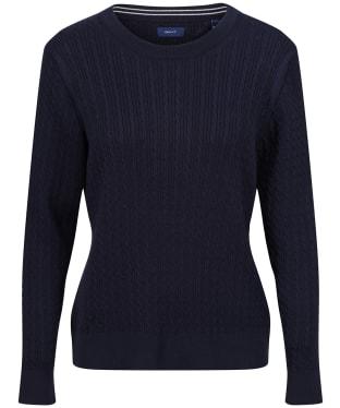 Women's GANT Cable C-Neck Sweater - Evening Blue