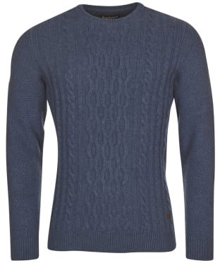 Men's Barbour Chunky Cable Crew Sweater - Denim Marl