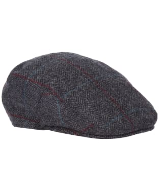 Men's Barbour Wool Crieff Flat Cap - Charcoal/Red/Blue