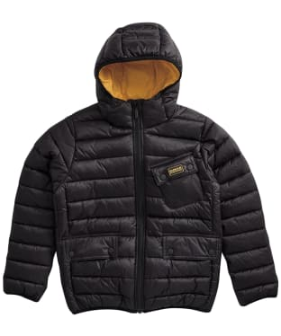 Boy's Barbour International Ouston Hooded Quilted Jacket, 6-9yrs - New Black/Yellow