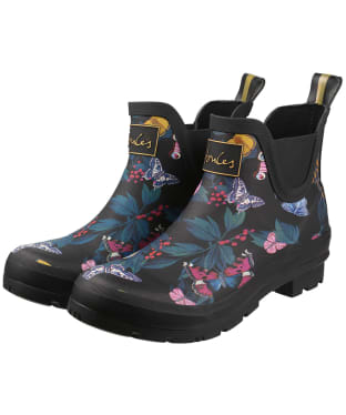 Women's Joules Short Printed Wellibobs - Black Butterfly