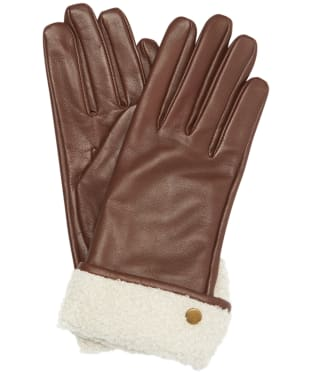 Women's Barbour Lara Leather Gloves - Dark Caramel