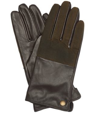 Women's Barbour Cora Wax Leather Gloves - Olive / Brown