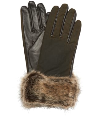 Women's Barbour Ambush Wax Leather Gloves - Olive / Brown