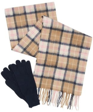 Women's Barbour Wool Tartan Scarf & Glove Set - Pink / Hessian
