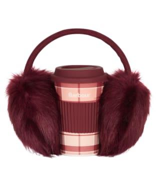 Women's Barbour Travel Mug & Earmuff Set - Red / Pink Tartan