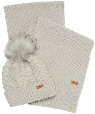 Women's Barbour Hartley Beanie & Scarf Gift Set - Ice White