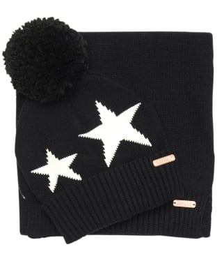 Women's Barbour International Star Beanie and Scarf Gift Set - Black